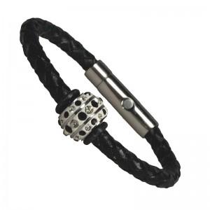 I-Energy® flettet læder med rustfri stål reinsten bead.