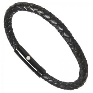 Sortplatinert I-Energy® flettet læder magnetarmbånd
